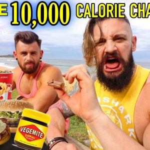 2 MEN - 1 COUNTRY - 10,000 CALORIE CHALLENGE...Englishmen Eats Trying Australian Food! (Lex Fitness)