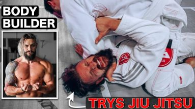 BODYBUILDER vs First JIU JITSU Workout & Sparring! .... This Hurt!! (Featuring a UFC Legend!!)